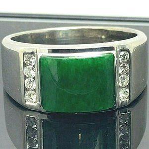Green Gemstone & Diamond Ring 18k White Gold SZ8.5